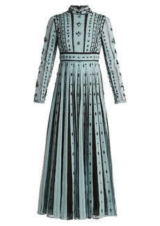 Valentino Bead-embellished pleated silk dress