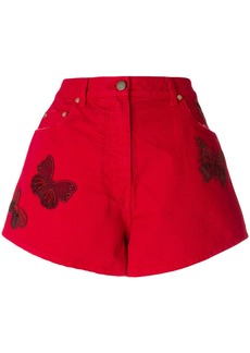 Valentino beaded butterfly denim shorts - Red