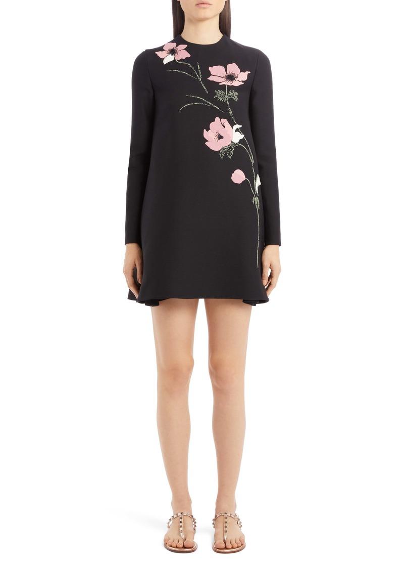 Valentino Beaded Floral Intarsia Long Sleeve Wool & Silk Minidress