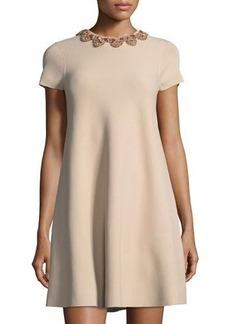 Valentino Beaded-Neck Short-Sleeve Knit Dress