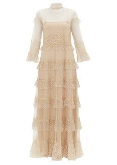 Valentino Beaded tiered tulle gown