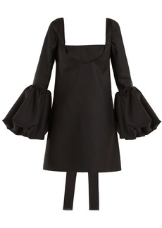 Valentino Bell-sleeve silk-crepe dress