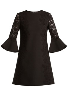 Valentino Bell-sleeve wool-blend dress