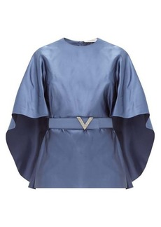 Valentino Belted cape-sleeve silk-satin top