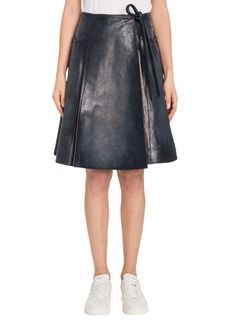 VALENTINO Bloched Leather Wrap Skirt