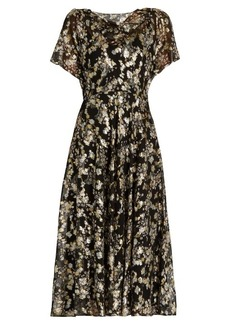 Valentino Boat-neck floral fil coupé silk-blend dress
