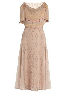 Valentino Boat-neck geometric-print silk-chiffon midi dress