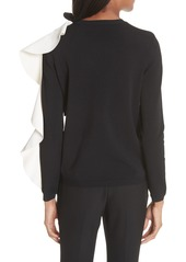 Valentino Bow & Contrast Ruffle Knit Top
