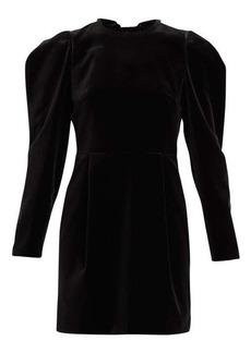 Valentino Bow and crystal-embellished velvet mini dress
