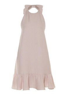Valentino Bow-halterneck ruffle-trimmed dress