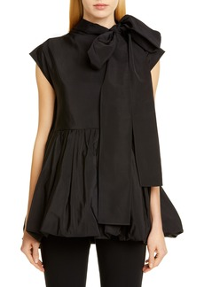Valentino Bubble Hem Tie Neck Top