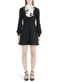 Valentino Butterfly Embroidered Long Sleeve Contrast Bib Minidress