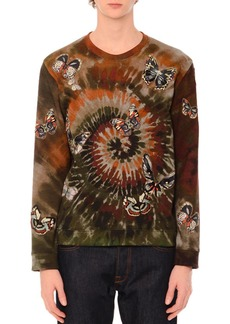 Valentino Butterfly-Embroidered Long-Sleeve Tie-Dye T-Shirt