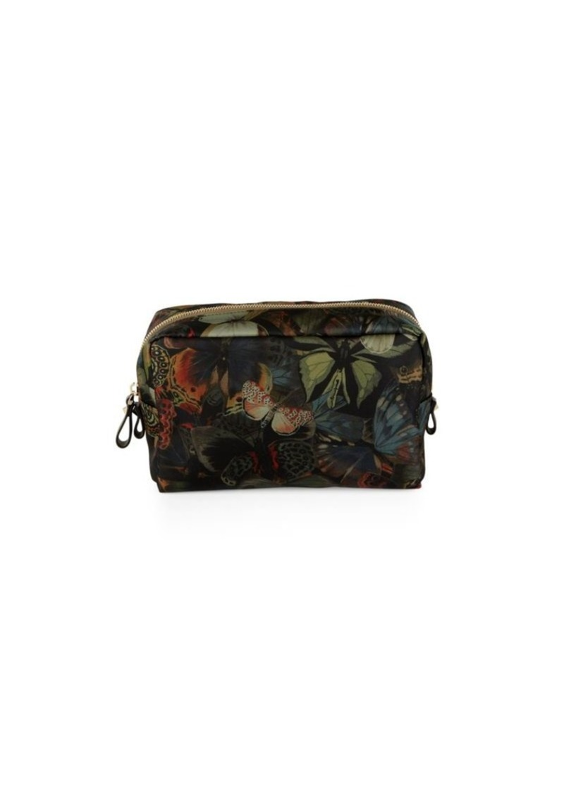 Valentino Butterfly Printed Zipped Pouch