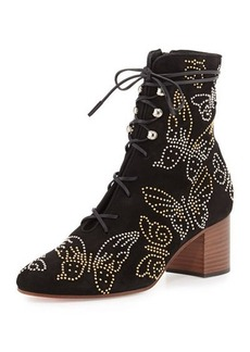 Valentino Butterfly-Studded Lace-Up Boot