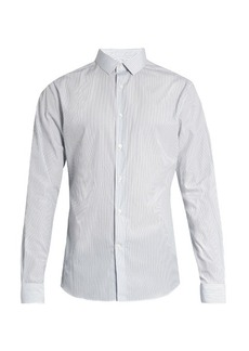 Valentino Button-cuff striped cotton shirt