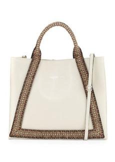 Valentino By Mario Valentino Adele Saffiano Leather Woven Rope Trim Tote Bag