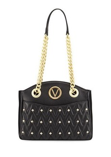 Valentino By Mario Valentino Camelie D Studs Quilted Sauvage Leather Shoulder Bag