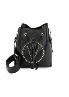 Valentino by Mario Valentino Leon Pebbeled Leather Stud Bucket Bag