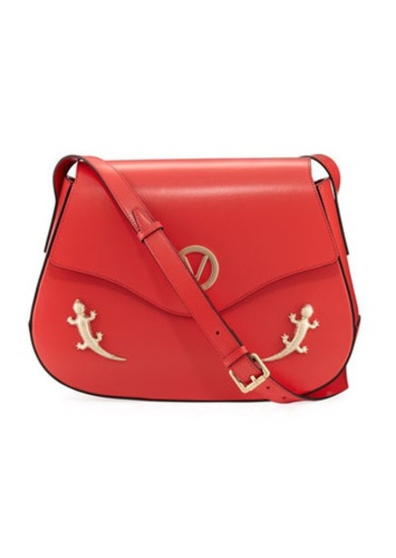 Valentino By Mario Lucy Flap Lizard Shoulder Bag