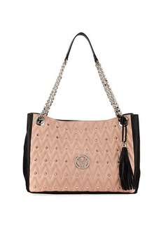 Valentino By Mario Valentino Verra D Quilted Two-Tone Leather Tote Bag