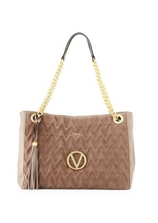 Valentino By Mario Valentino Verra Large Suede/Leather Quilted Tote Bag