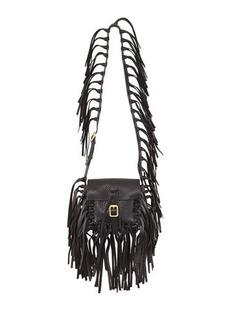 Valentino C-Rockee Pebbled Leather Fringe Shoulder Bag