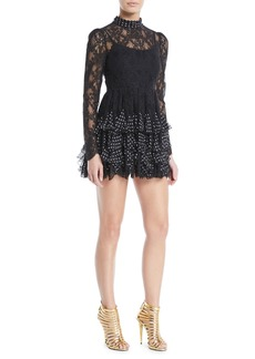 Valentino Camellia Lace Long-Sleeve Tiered Polka-Dot Mini Cocktail Dress