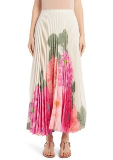 Valentino Camellia Pleated Silk Crêpe de Chine Maxi Skirt