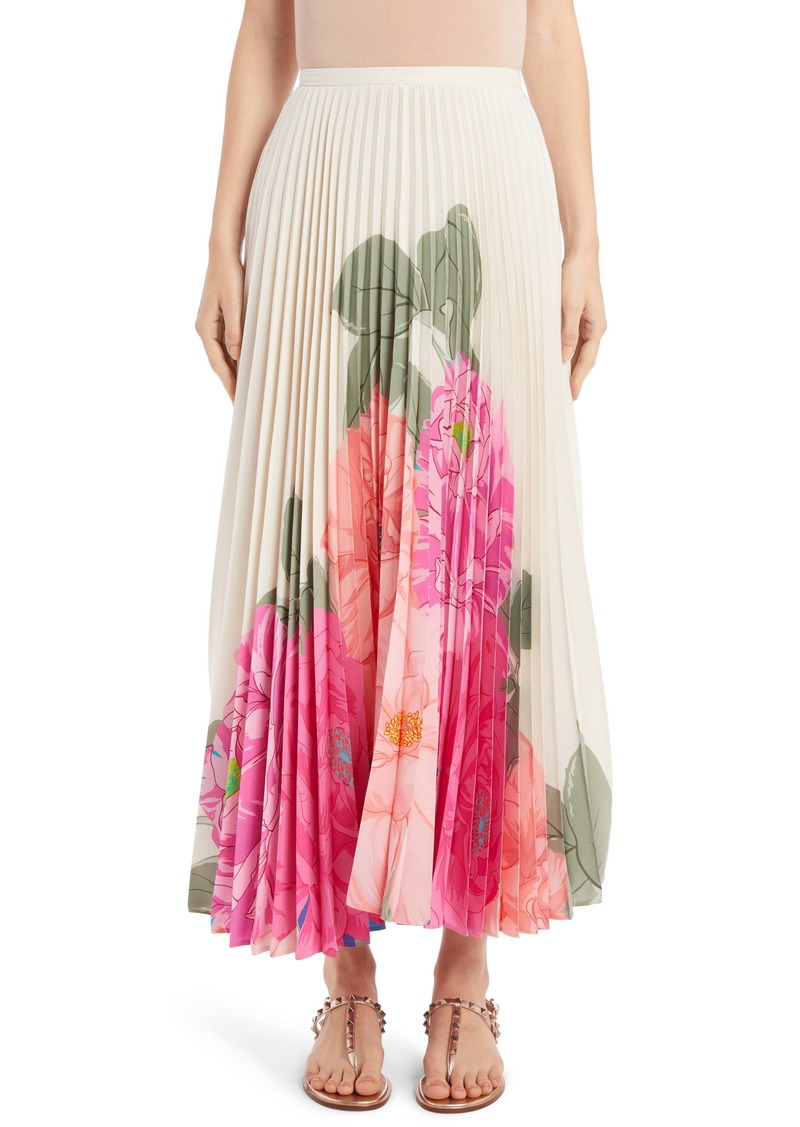 Valentino Camellia Pleated Silk Crêpe de Chine Maxi Skirt