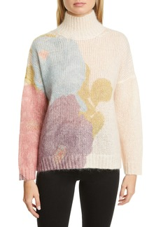 Valentino Camellia Print Mohair Blend Sweater