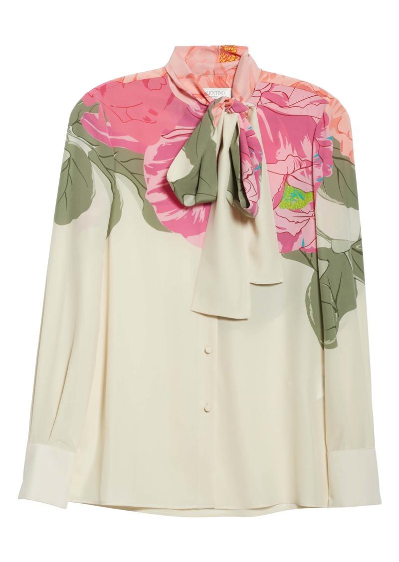 Valentino Camellia Tie Neck Silk Crêpe de Chine Blouse