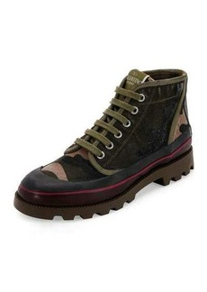 Valentino Camouflage Canvas High-Top Sneaker