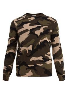 Valentino Camouflage intarsia-knit wool sweater