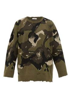 Valentino Camouflage-jacquard virgin wool sweater
