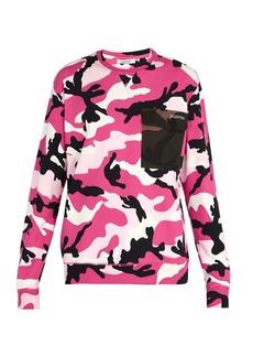 Valentino Camouflage-print contrast-pocket sweatshirt