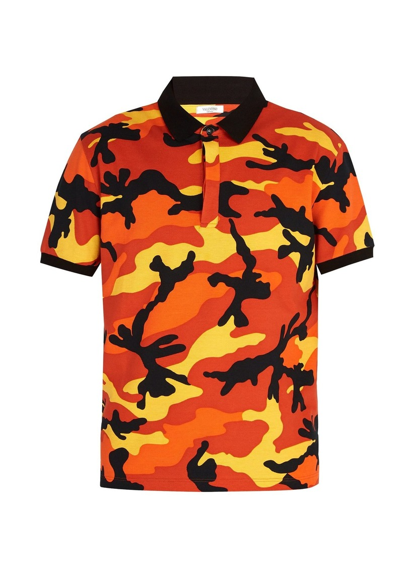 4acbbd94d SALE! Valentino Valentino Camouflage-print polo shirt with Rockstuds