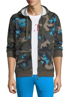 Valentino Camouflage-Print Zip-Front Hoodie