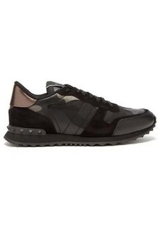 Valentino Camouflage Rockrunner suede and leather trainers