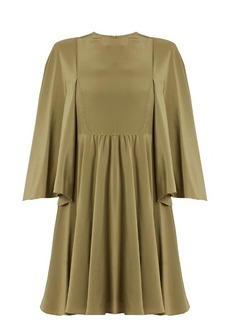 Valentino Cape-sleeve silk crepe de Chine dress