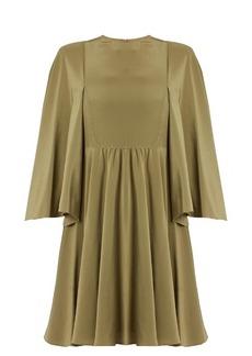 Valentino Cape-sleeve silk crepe de Chine dress