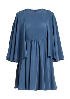 Valentino Cape-sleeve silk-georgette dress