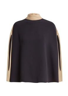Valentino Cape-sleeve tie-neck silk-crepe blouse