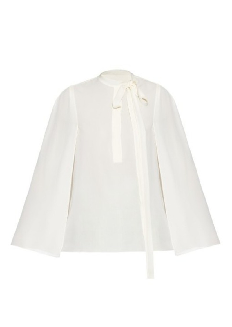 Valentino Cape-sleeved georgette blouse
