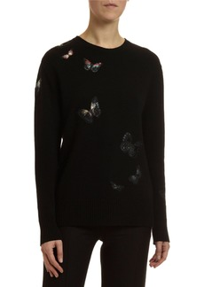 Valentino Cashmere Butterfly Embroidered Sweater
