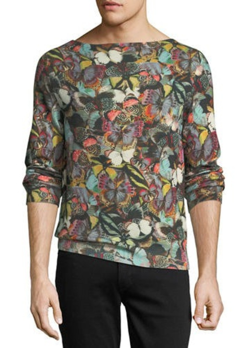 Valentino Cashmere Butterfly-Print Sweater