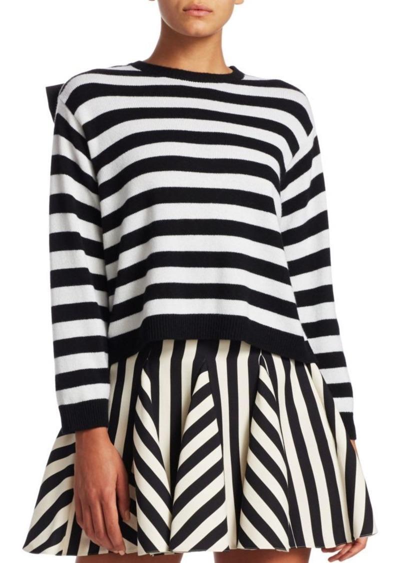 Valentino Cashmere Stripe-Knit Bow Sweater