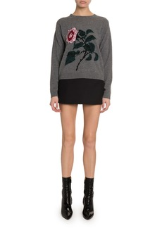 Valentino Cashmere-Wool Rose-Embroidered Sweater