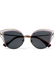 Valentino Cat-eye acetate and silver-tone sunglasses