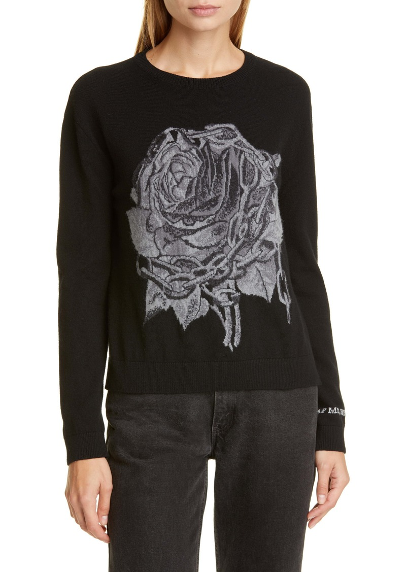 Valentino Chain & Rose Intarsia Wool & Cashmere Sweater